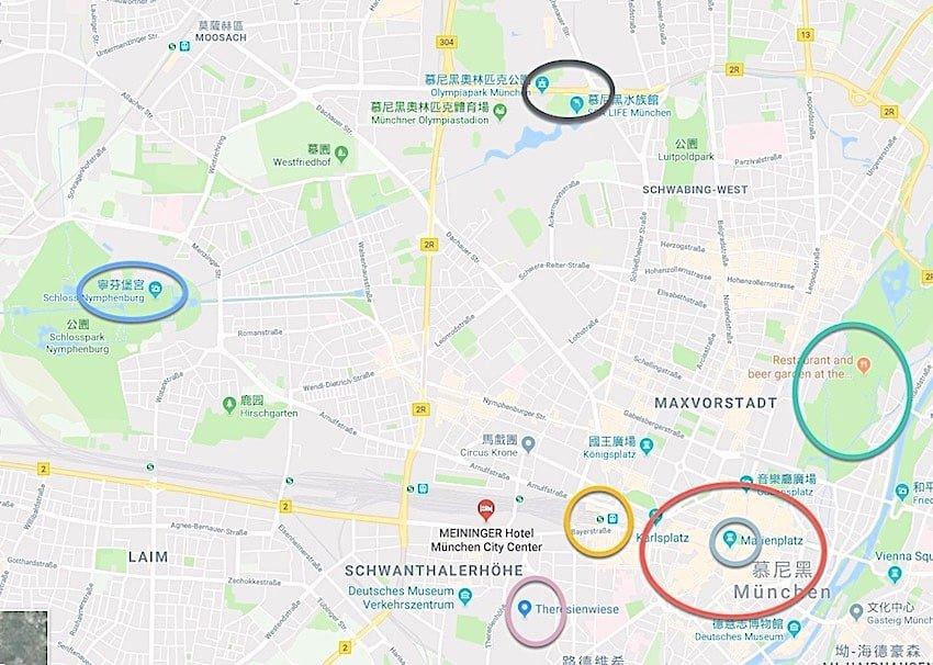 簡易版慕尼黑景點地圖