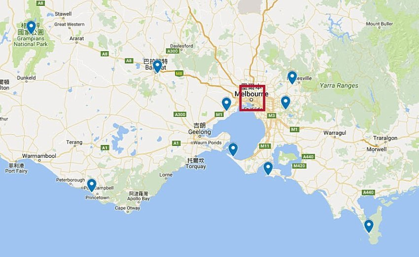 墨爾本郊區景點地圖