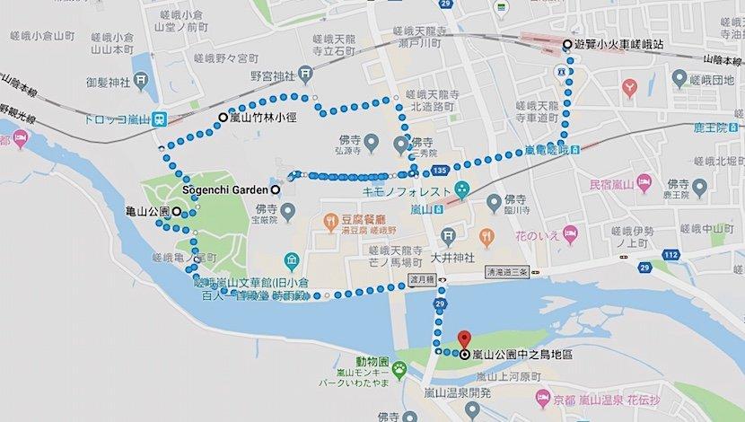日本-京都-嵐山賞櫻景點路線圖