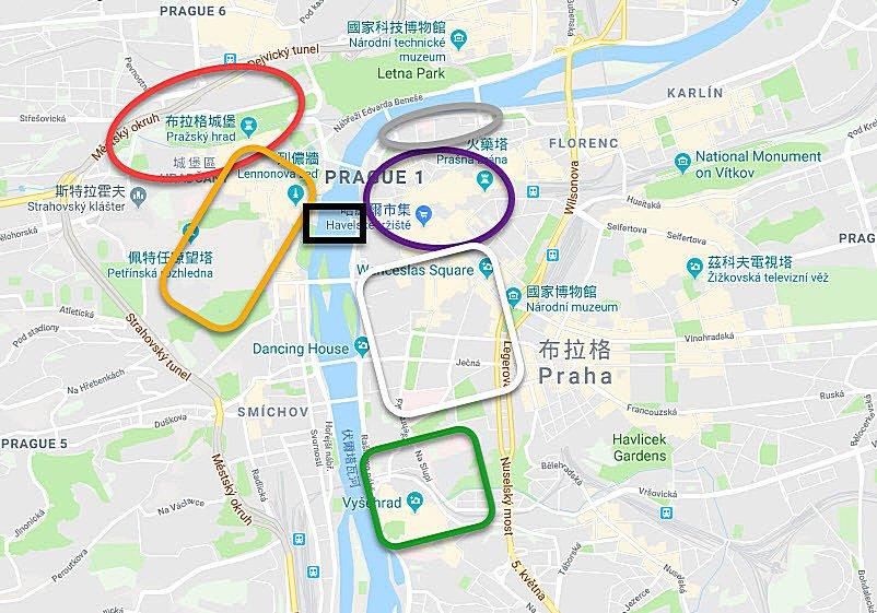 捷克-布拉格-觀光區域圖