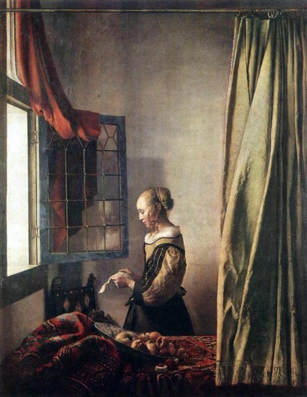 德國-德勒斯登-窗邊讀信的女子