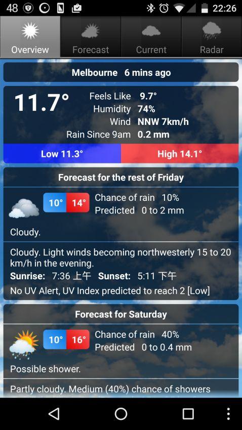 Android澳洲氣象APP