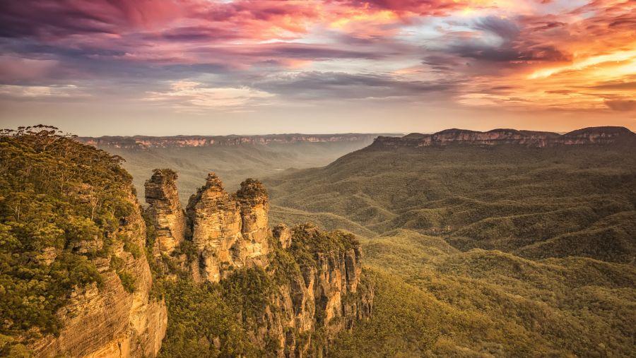 澳洲-藍山國家公園-三姊妹岩日落