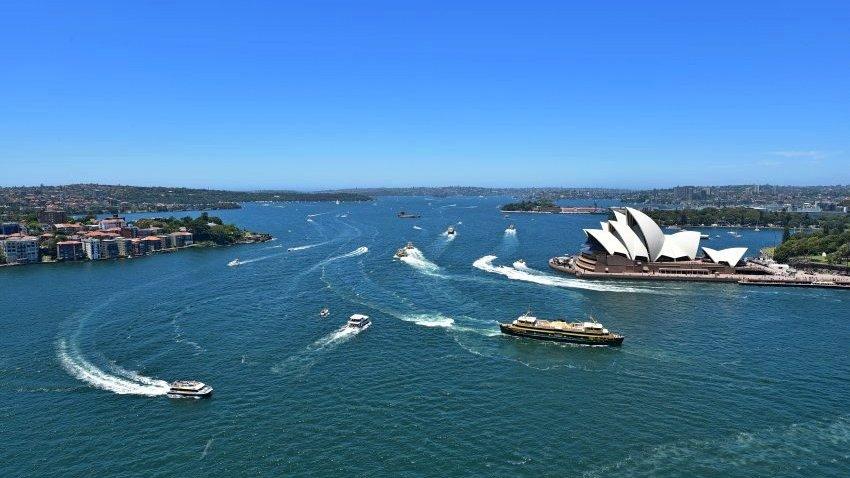 澳洲-雪梨-由Pylon Lookout欣賞雪梨歌劇院與雪梨港灣
