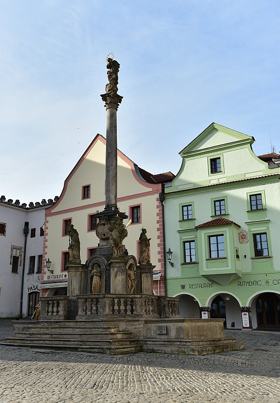 捷克-庫倫洛夫(Český Krumlov)-市政廣場黑死病紀念柱