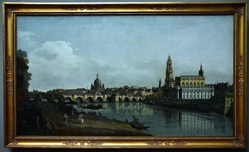 德國-德勒斯登-茲溫格宮-歷代大師畫廊-易北河畔的德勒斯登(Dresden seen from the Right Bank of the Elbe, beneath the Augusts Bridge)