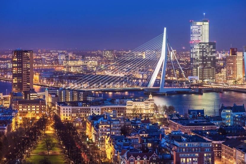 荷蘭-鹿特丹-歐洲之桅拍攝的鹿特丹港夜景